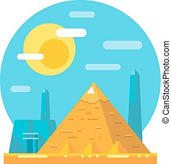 Pyramid of Giza flat design landmark illustration vector