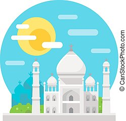 Taj Mahal flat design landmark illustration vector