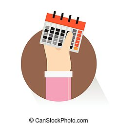 Vector Businessman hands mark on the calendar on white background
