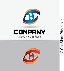 Eye logo element with letter H icons