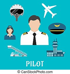 Pilot profession and aircraft icons - Pilot profession flat...
