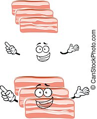 Cartoon fresh bacon rashers character - Cheerful cartoon...