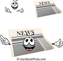 Funny cartoon isolated newspaper character - Happy cartoon...