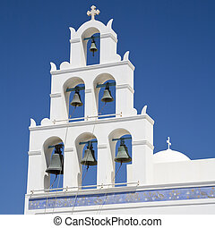 Bell Tower - Typical white bell tower on the island of...