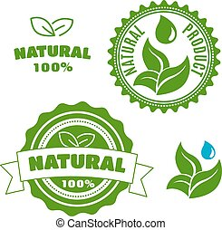 Natural product labels with leaves and drops - Natural...
