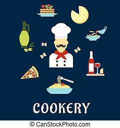 italiano, cucina, appartamento, Icone, con, chef, e, Piatti,...