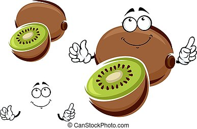 Whole and sliced kiwi fruit character