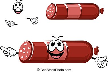 Cartoon beef sausage in red casing - Cartoon smoked beef...