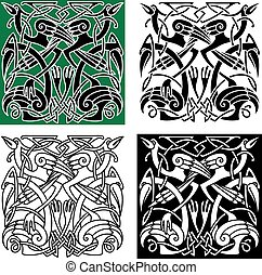 Heron birds with celtic ornament