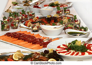 festive buffet - buffet with fish and tomato