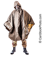 Jungle Soldier - a soldier wearing a poncho or raincoat and...