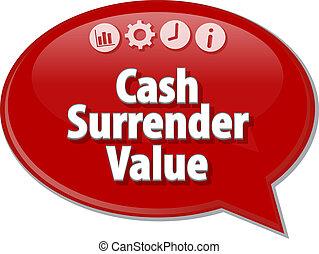 Cash Surrender Value Business term speech bubble...