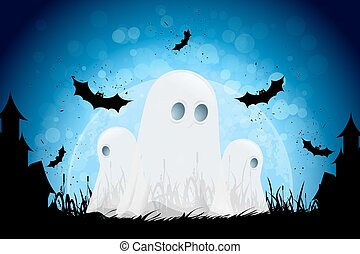 Halloween Background with Moon, Bats and Ghosts