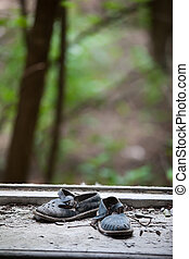 Abandoned pair of childrens sandals - Chernobyl area Lost...