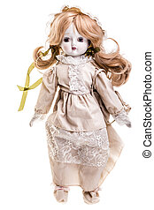 Victorian doll - a beautiful vintage doll isolated over a...