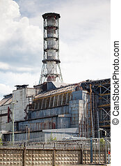 Chernobyl power plant view Summer season in Ukraine aria