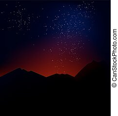 mountain landscape with the cosmic - Space background with...