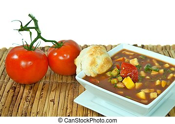 gazpacho soup with tomatoes - Ripe tomatoes on the vine with...