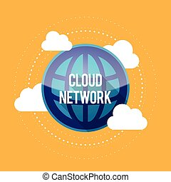 Cloud Network - Vector illustration of blue globe symbol...