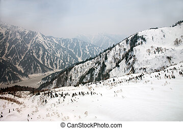 Japan Alps , Winter moutains with snowTakayama Gifu, Japan