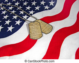 All American - US Constitution on military dog tags with...