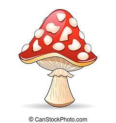 Mushroom amanita. Spotted red mushroom on a white...