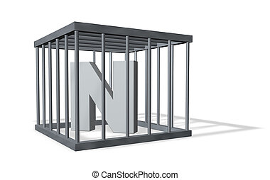 big N in a cage - uppercase letter n in a cage on white...