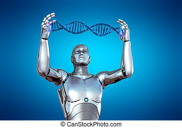 Robot and DNA in 3D illustration