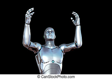 robot with hands raised