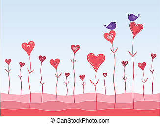 Birds in a hearts garden twitting about love