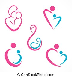 mother baby icon design - creative mother baby icon design...