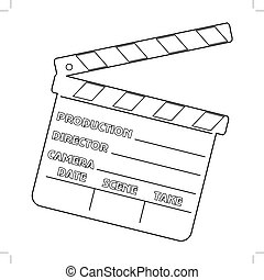 movie clapper - outline illustration of movie clapper,...