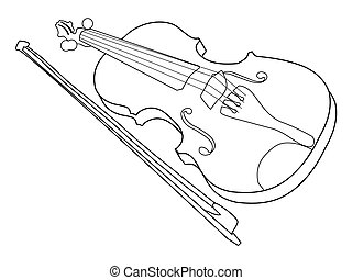 violin, musical instrument - outline illustration of violin,...