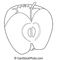 cutting apple - outline illustration of cutting apple
