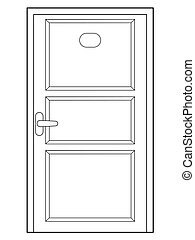 closed door, front view - outline illustration of closed...