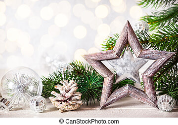 Christmas background with decorative star, fir branches and...