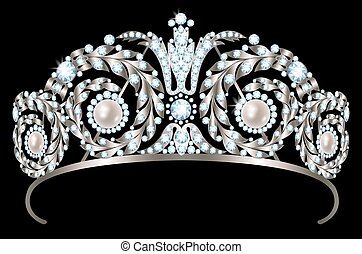 Diamond diadem - Vintage silver diadem with diamonds and...