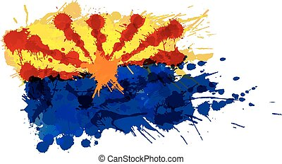 Flag of  Arizona, USA made of colorful splashes
