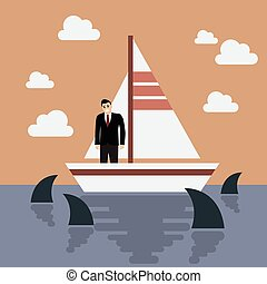 Businessman on small boat with shark in the sea