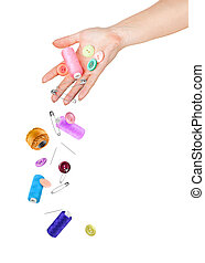 from hands fall accessories for sewing. conceptual photo