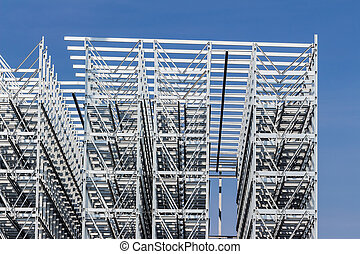 construction of a bay warehouse - a high-bay warehouse of a...