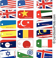 illustration vector price tag with flag of many countries