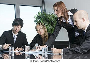 Customer talk at a nice table