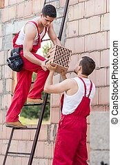Day at construction site - Young building workers are...