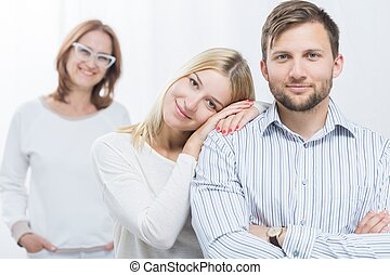 Picture of happy family - Picture of happy young couple and...