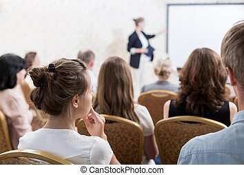 Speech during symposium - Image of speech with slideshow...