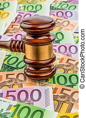 gavel and euro banknotes. symbol photo for costs in court,...