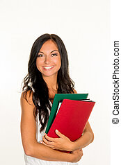 college student with folders - a young student with folders...