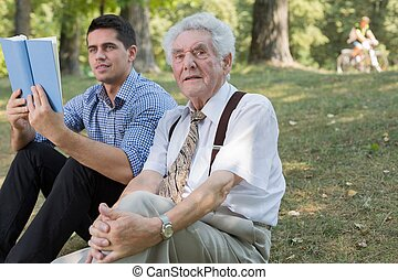 Old man and his grandson - Image of old man and his grandson...