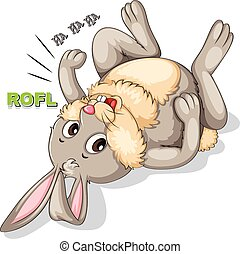 Bunny laughing and rolling on the floor illustration